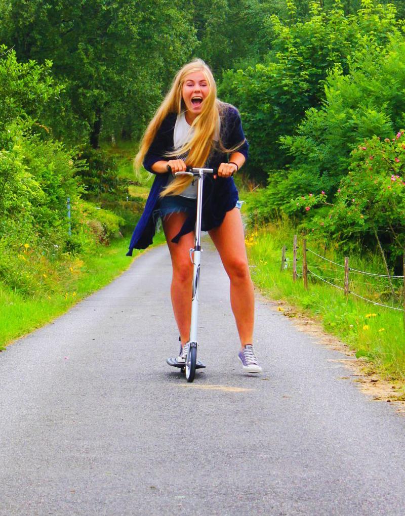 Huldertreff på sparkesykkel